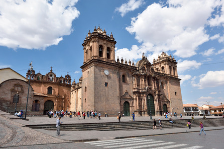 declared: CUSCO, PERU - August 31, 2016: View of Cusco Cathedral in Cusco, Peru on August 31, 2016. In 1983 Cusco was declared a World Heritage Site by UNESCO.