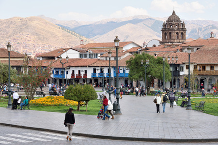 declared: CUSCO, PERU - August 31, 2016: View of Plaza De Armas of Cusco, Peru on August 31, 2016. In 1983 Cusco was declared a World Heritage Site by UNESCO.