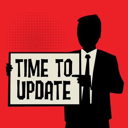 revitalize: Man showing board, business concept with text Time to Update, vector illustration Illustration