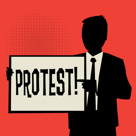 protest man: Man showing board, business concept with text Protest, vector illustration