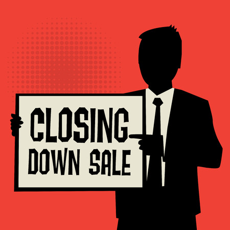 confinement: Man showing board, business concept with text Closing Down Sale, vector illustration