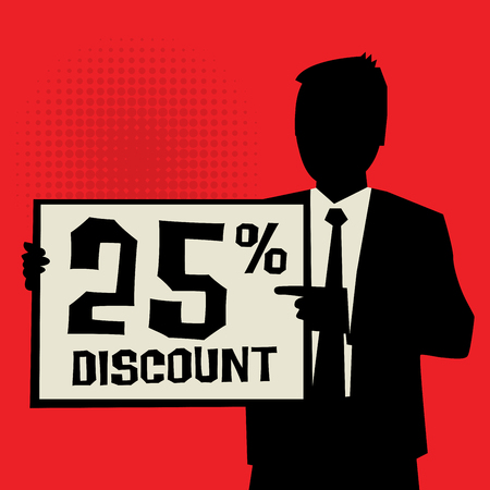 sale off: Man showing board, business concept with text 25 percent Discount, vector illustration Illustration