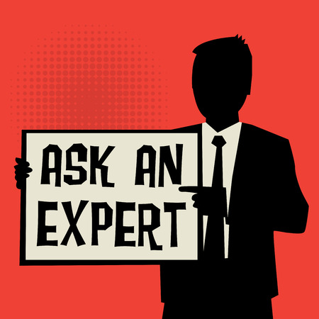 Man showing board, business concept with text Ask an Expert, vector illustration