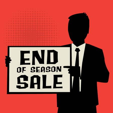 os: Man showing board, business concept with text End os Season Sale, vector illustration