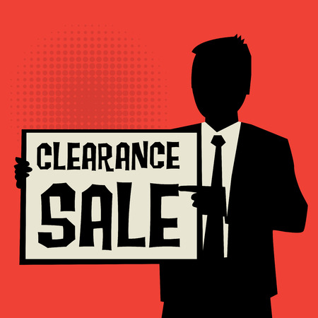 retailing: Man showing board, business concept with text Clearance Sale, vector illustration