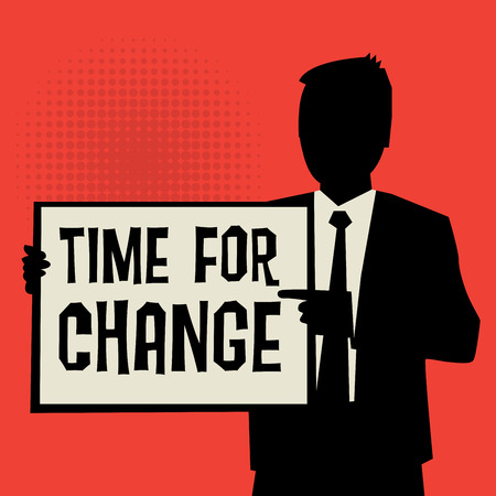time change: Man showing board, business concept with text Time for Change, vector illustration Illustration
