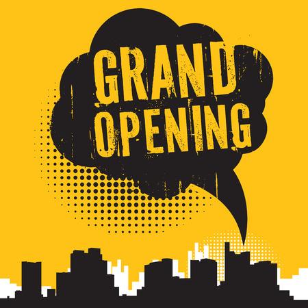 cómico da bolha do discurso estilo, conceito do negócio com texto Grand Opening, ilustração vetorial