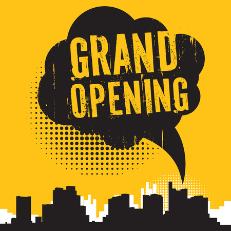 Comic style speech bubble, business concept with text Grand Opening, vector illustration