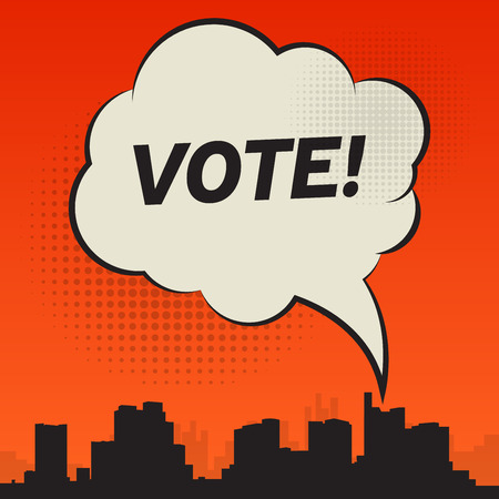 responsibility survey: Comic style speech bubble, business concept with text Vote, vector illustration