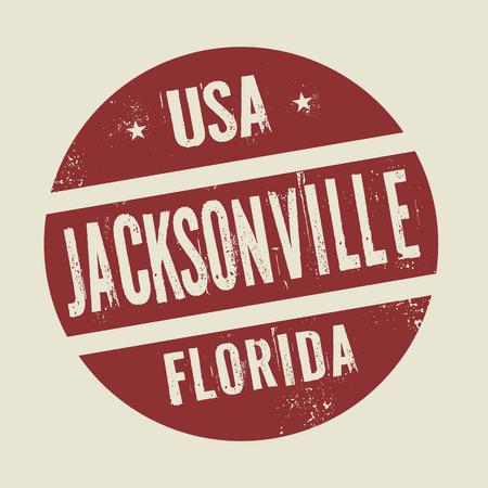jacksonville: Grunge vintage round stamp with text Jacksonville, vector illustration