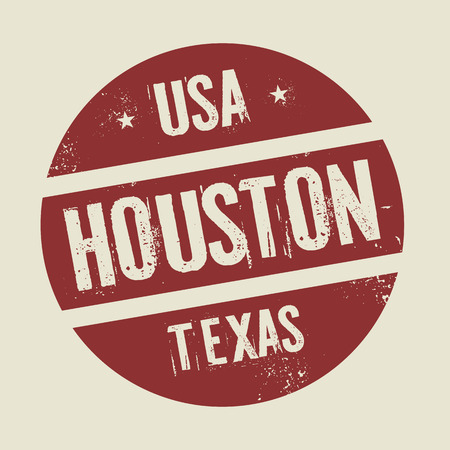 Grunge vintage round stamp with text Houston,Texas, vector illustration