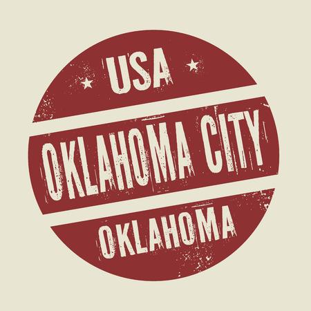 oklahoma city: Grunge vintage round stamp with text Oklahoma City, Oklahoma, vector illustration
