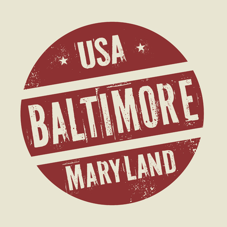 maryland: Grunge vintage round stamp with text Baltimore, Maryland, vector illustration