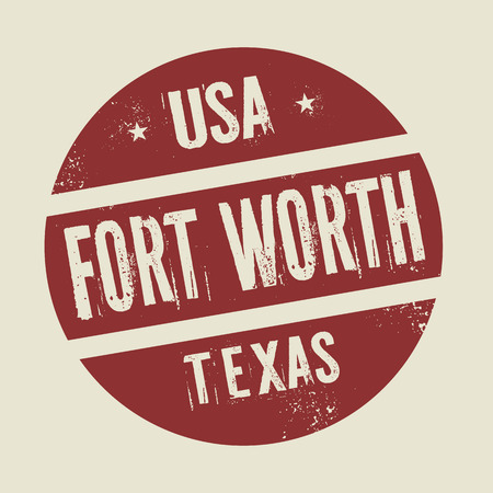 fort: Grunge vintage round stamp with text Fort Worth, Texas, vector illustration Illustration