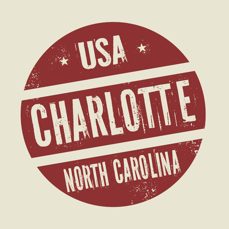 charlotte: Grunge vintage round stamp with text Charlotte, North Carolina, vector illustration