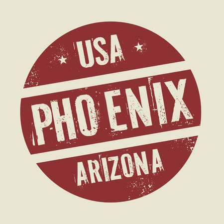 phoenix arizona: Grunge vintage round stamp with text Phoenix, Arizona, vector illustration