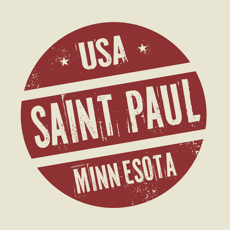 paul: Grunge vintage round stamp with text Saint Paul, Minnesota, vector illustration