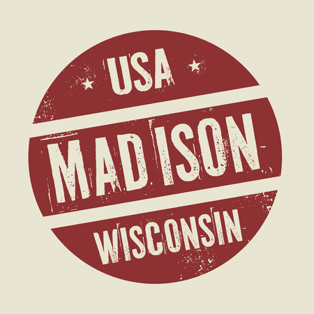 madison: Grunge vintage round stamp with text Madison, Wisconsin, vector illustration