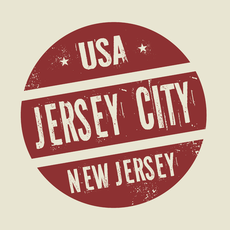 jersey city: Grunge vintage round stamp with text Jersey City, New Jersey, vector illustration