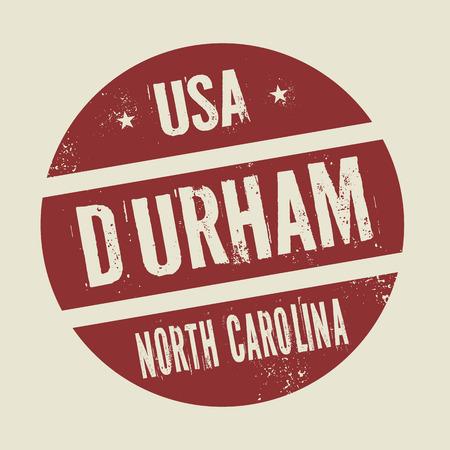 durham: Grunge vintage round stamp with text Durham, North Carolina, vector illustration Illustration