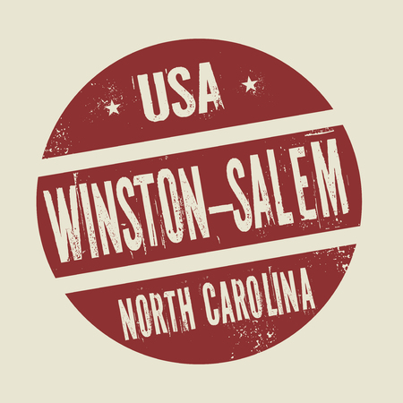 winston: Grunge vintage round stamp with text Winston - Salem, North Carolina, vector illustration Illustration