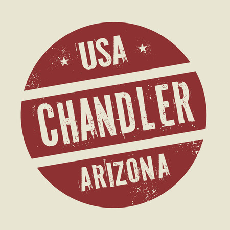 chandler: Grunge vintage round stamp with text Chandler, Arizona, vector illustration Illustration