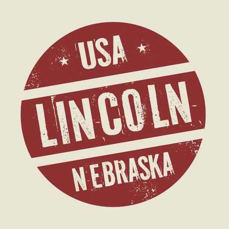 nebraska: Grunge vintage round stamp with text Lincoln, Nebraska, vector illustration