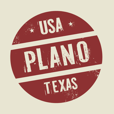 plano: Grunge vintage round stamp with text Plano, Texas, vector illustration