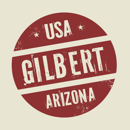 gilbert: Grunge vintage round stamp with text Gilbert, Arizona, vector illustration