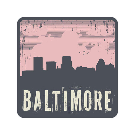 baltimore: Grunge vintage stamp with text Baltimore, vector illustration