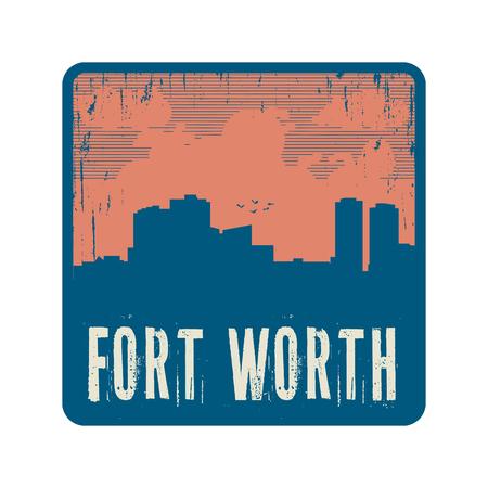 worth: Grunge vintage stamp with text Fort Worth, vector illustration Illustration