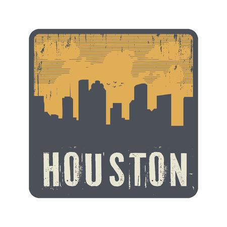 houston: Grunge vintage stamp with text Houston, vector illustration