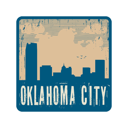 oklahoma city: Grunge vintage stamp with text Oklahoma City, vector illustration Illustration