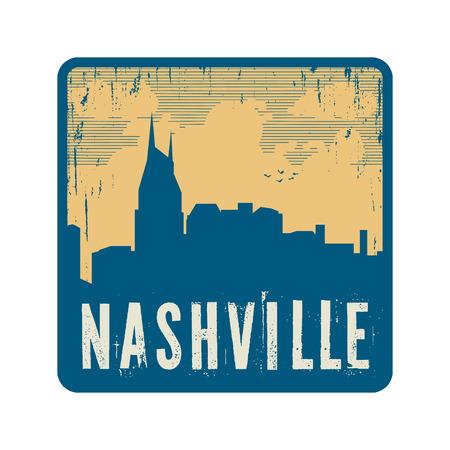 nashville: Grunge vintage stamp with text Nashville, vector illustration Illustration