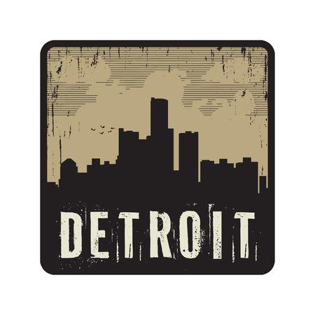 detroit: Grunge vintage stamp with text Detroit, vector illustration