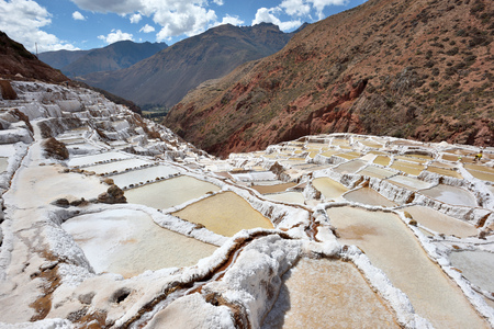 destination scenic: Terraced salt pans also known as Salineras de Maras, among the most scenic travel destination in Cusco Region, Peru, South America.