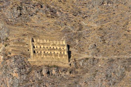 inca ruins: Pinkulluna Inca ruins in the sacred valley in the Peruvian Andes. Peru, Ollantaytambo. Editorial