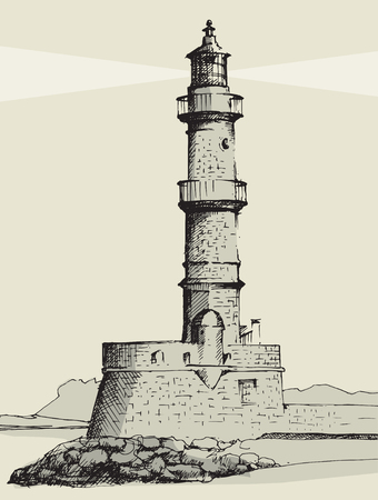Lighthouse in Chania, Crete, illustration