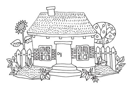 house drawing: Cartoon drawing house, illustration Illustration