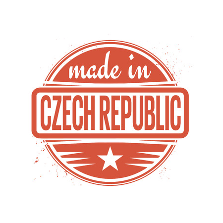 czech: Abstract vintage stamp or seal with text Made in Czech Republic, illustration