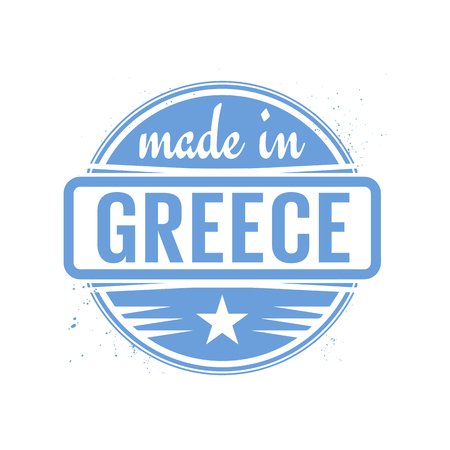 Abstract vintage stamp or seal with text Made in Greece, vector illustration Illustration
