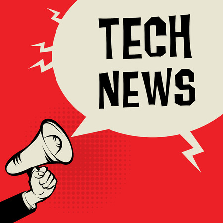 business news: Megaphone Hand, business concept with text Tech News, vector illustration Illustration