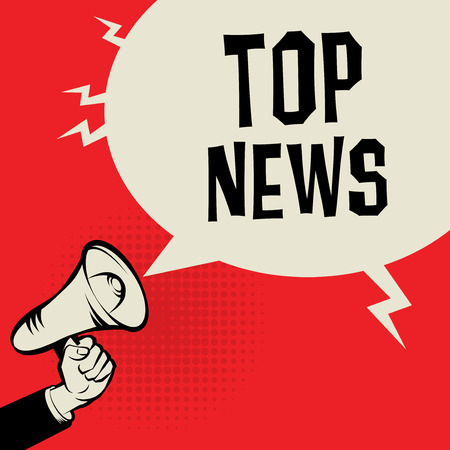 business news: Megaphone Hand, business concept with text Top News, vector illustration