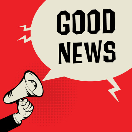 good news: Megaphone Hand, business concept with text Good News, vector illustration
