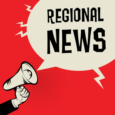 business news: Megaphone Hand, business concept with text Regional News, vector illustration