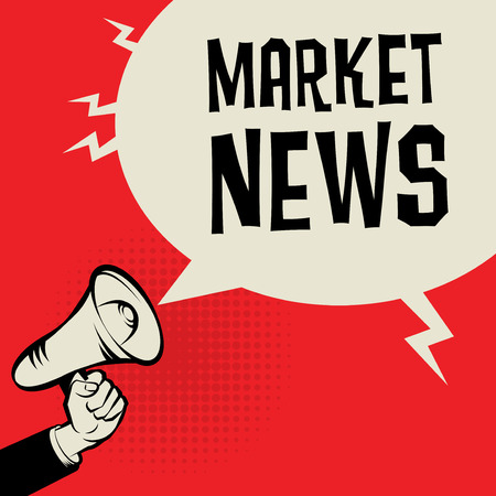 business news: Megaphone Hand, business concept with text Market News, vector illustration Illustration