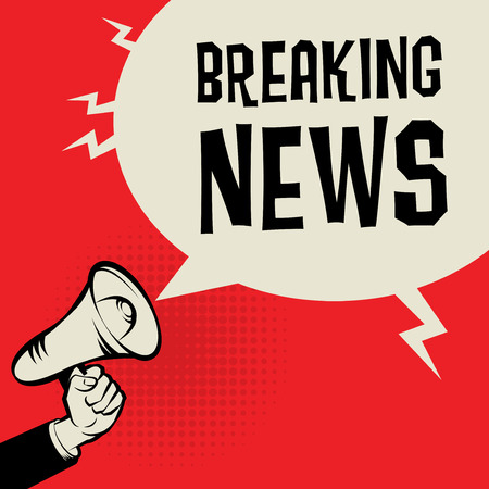 business news: Megaphone Hand, business concept with text Breaking News, vector illustration Illustration