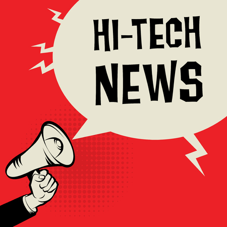 business news: Megaphone Hand, business concept with text Hi-tech News, vector illustration