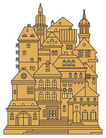 Oude gebouwen in de oude stad. Cityscape - huizen, gebouwen. Uitzicht op de oude stad. Middeleeuws Europees kasteellandschap, vectorillustratie