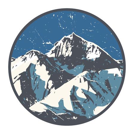 Mountains badge or emblem. Adventure outdoor, expedition mountain, badge climbing mountain snowy, peak mountain label, vector illustration